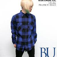 sh73809-bu73 - ヘヴィネル ブロックチェック ワークシャツ(ブルー)-  VINTAGE EL -R-( ネルシャツ アメカジ 長袖シャツ )