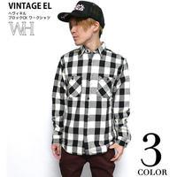 sh73809-wh06 - ヘヴィネル ブロックチェック ワークシャツ(ホワイト)- VINTAGE EL - ヴィンテージイーエル -G-( ネルシャツ アメカジ 長袖シャツ )
