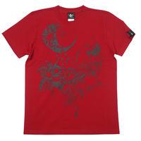 bg019tee-rd - 蠍座ガール (Scorpio Girl) Tシャツ (レッド) -baster great-G- サソリ さそり座 星座 イラスト 赤色 半袖