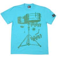 tgw020tee - ワールドラム Tシャツ (アクアブルー) -G- 半袖 ドラム バンドTシャツ ロック 青 水色 Tシャツ屋さんバンビ
