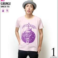 sp006ut - グランジ(grunge)UネックTシャツ -G- 半袖 ロック バンド ギター柄 カジュアル アメカジ ピンク