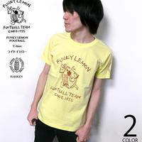 2週間セール!! har013tee-lye - FUNKY LEMON FOOTBALL Tシャツ (ライトイエロー)- HARIKEN -G- 半袖 黄色 レモン フットボール ラグビー イラスト
