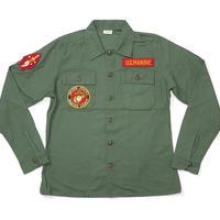 usfs-mr15 - USタイプ OG-107 ファティーグシャツ (MARINE ワッペン)【レプリカ】-G- 米軍 ミリタリー 長袖 オリーブ アメカジ
