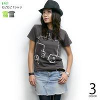 sp060tee-ch - モビモビ Tシャツ (チャコールグレー)-G- 半袖 イラスト 落書き ラクガキ 可愛い アメカジ カジュアル