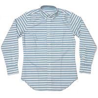 2週間セール!! sh75375-bu - オックスフォード ボーダーBDシャツ - VINTAGE EL ヴィンテージイーエル -G- 長袖 ボタンダウン カジュアル 日本製