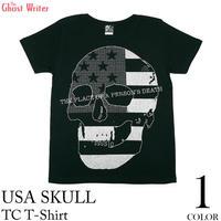 tgw019tc - USA スカル TC Tシャツ - The Ghost Writer -G- パンク ロック ドクロ アメリカ PUNK ROCK 半袖