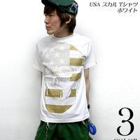 tgw019 - USA スカル Tシャツ ( ホワイト ) - The Ghost Writer -G- ( パンク ロックTシャツ SKULL ドクロ 白 アメリカ 半袖 )