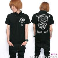 sp085-bd-po - Blade ボタンダウン ポロシャツ - BPGT -G- ( Polo Blade 羽根 ROCK ロック ワンポイント ナンバー ブラック 黒 半袖 )