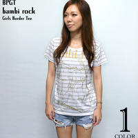 hw005bgt - bambi rock ガールズ ボーダーTシャツ - BPGT -G-( バンビロックTシャツ バンドTシャツ ギター 半袖 Tee )