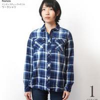 na5003-ny - インディゴチェック×デニム ワークシャツ ( ネイビー ) Nanea-R- 長袖シャツ カジュアルコーデ アメカジ 紺色