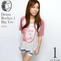 sp030grg - Drum Rocker 1(ドラムロッカー)ラグラン ガールズ ビックTシャツ -G- ロック ライブ バンド オリジナル 半袖