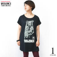 pi009opt - VIOLENCE (バイオレンス) Tシャツワンピース -G- ワンピTシャツ 半袖Tee ゾンビ スケボー パンクロックTシャツ