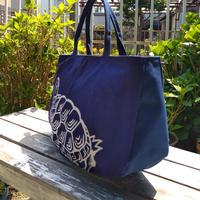藍染前掛け【亀の子束子】を使った2本手ファスナーバッグ