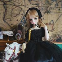 ドール衣装 BJD 1/3・1/4・1/6 人形 ビンテージドレス+髪飾り