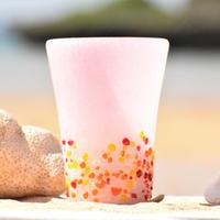 つぶつぶビアグラス(ピンク泡ベース)