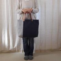 裂き織りバッグ ネイビー A4