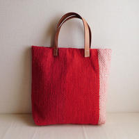 裂き織りバッグ 赤×生成り