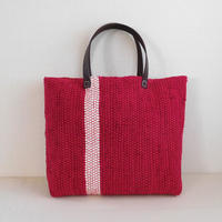 裂き織りバッグ 赤+白ライン