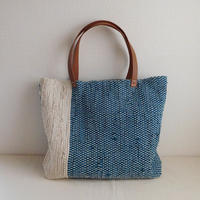 裂き織りバッグ ターコイズブルー