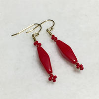 Czech long octahedron earrings (Red)