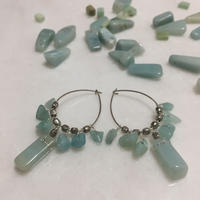 amazonite hoop silver earrings