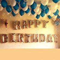 HAPPY BIRTHDAY バルーンセット 青 ブルー 白 ホワイト