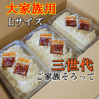 冷凍生餃子 パックLサイズ[18人前/108粒 タレ付き] 三世代の大家族用