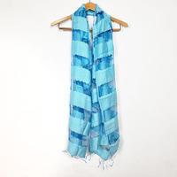 シルクコットン ストール・silk cotton stole - foulard / blue