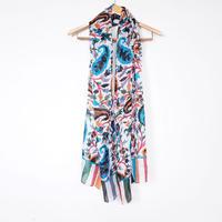 ストール100%シルク Silk stole foulard en soie /rouge blue