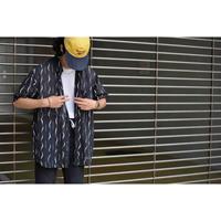 90S ハンドドローデザインポリエステルブラックシャツ