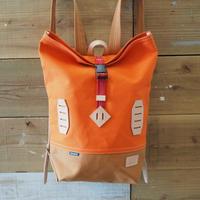 帆布BAGPACK(オレンジ×キャメル×レッド)