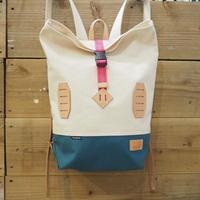 帆布BAGPACK(ホワイト×シアンブルー×ピンク)