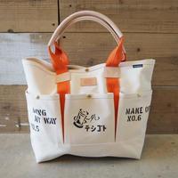 帆布ガーデニングバッグ(ホワイト×オレンジ+ステンシル)