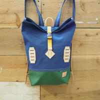帆布BAGPACK(ブルー×グリーン×マスタード)