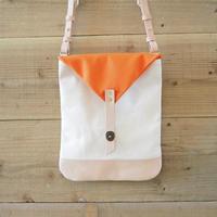 帆布Book Bag(ホワイト×オレンジ)