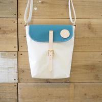 帆布ポスティングバッグ(ホワイト×シアンブルー)
