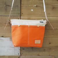 帆布ミニショルダー(オレンジ×ホワイト)
