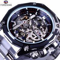 腕時計 メンズ FORSINING 高級海外ブランド 機械式 スケルトン ゴールドギア レアモデル フルスチール 自動巻きスチール スチームパンク 全5色