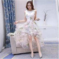 きれいめドレス  レディース ワンピース 大きめサイズ 不規則 花柄 欧根紗  結婚式 パーティー デート 上品 新作 ホワイトピンク L/XL/XXL/3XL