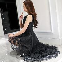 きれいめドレス レディース ワンピース 大きめサイズ 不規則 花柄 欧根紗 結婚式 パーティー デート 上品 新作  ブラック  L/XL/XXL/3XL