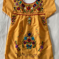 【3-4歳サイズ】キッズ メキシカン刺繍のワンピース(黄色)