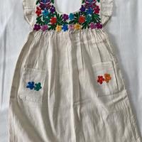 【5-6歳サイズ】花柄刺繍のコットンワンピース