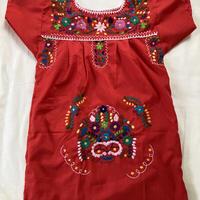 【3-4歳サイズ】キッズ メキシカン刺繍のワンピース(赤)