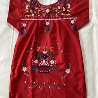 【5-6歳サイズ】キッズ メキシカン刺繍のワンピース(赤)