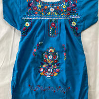 【5-6歳サイズ】キッズ メキシカン刺繍のワンピース(青)