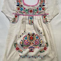 【3-4歳サイズ】キッズ メキシカン刺繍のワンピース(コットン生成り) 003