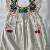 【1-2歳サイズ】花柄刺繍のコットンワンピース