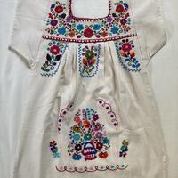 【3-4歳サイズ】キッズ メキシカン刺繍のワンピース(コットン生成り) 006