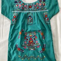 【5-6歳サイズ】キッズ メキシカン刺繍のワンピース(ライトグリーン)