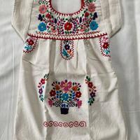 【1-2歳サイズ】キッズ メキシカン刺繍のワンピース(コットン生成り)